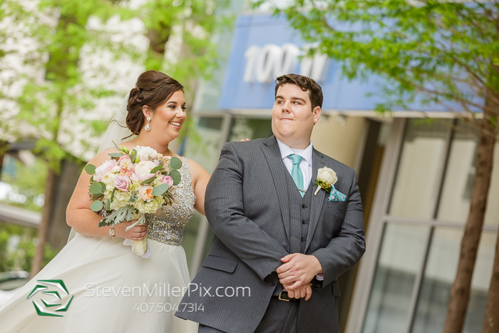 Downtown Orlando Wedding First Look Photographer