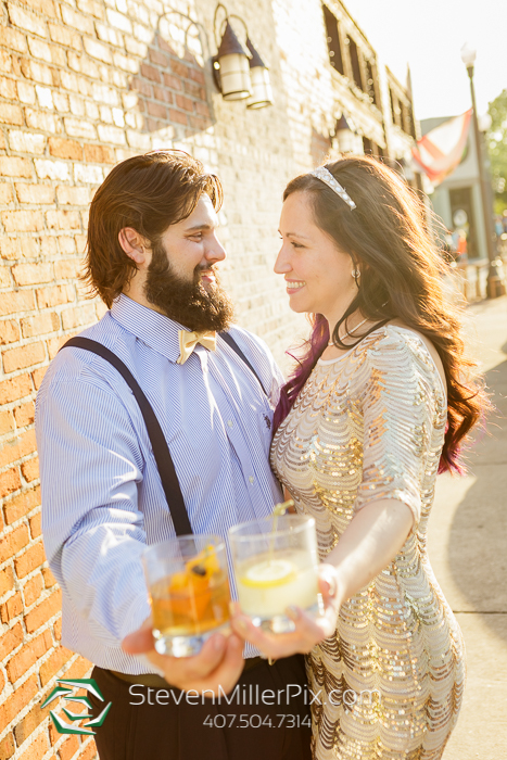 Gatsby Themed Engagement Photos in Downtown Sanford